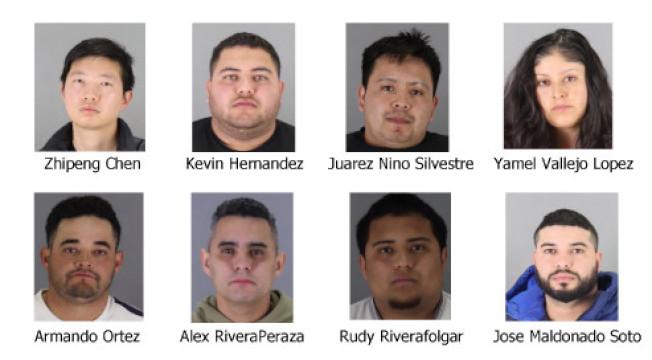 聖馬刁警局查獲買賣贓物的灣區犯罪集團,圖左上方嫌犯為華裔。(聖馬刁縣警局提供)