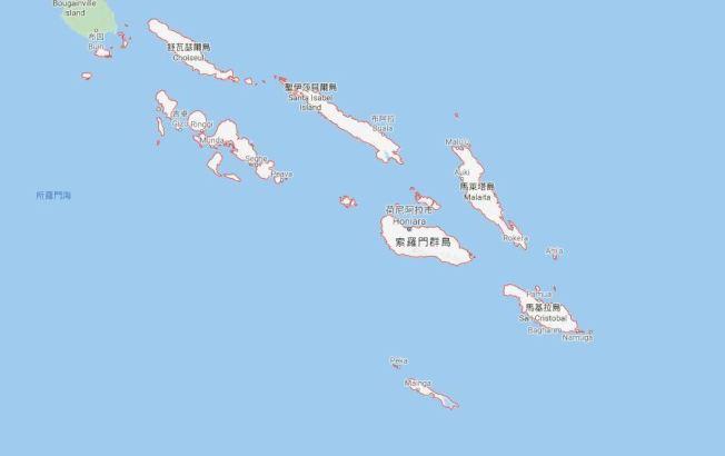 索羅門群島外海發生規模6.3地震,目前尚未傳出災損。圖截自Google地圖