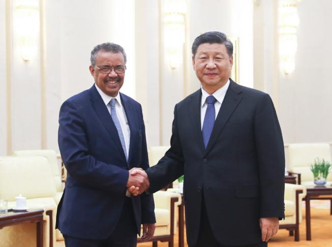 中國國家主席習近平28日在北京人民大會堂會見世界衛生組織總幹事譚德塞。(新華社)