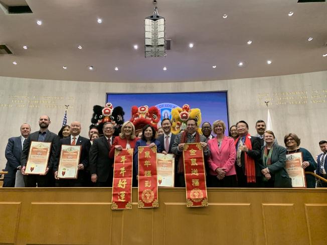 洛杉磯縣政委員會28日慶祝農曆春節。(記者李雪/攝影)