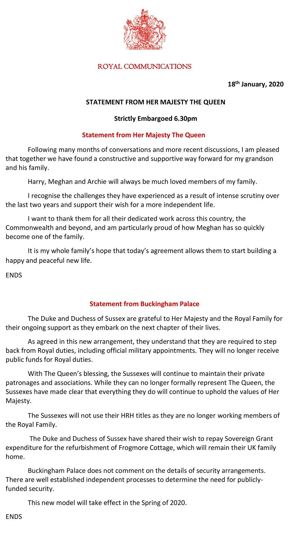白金漢宮18日發表聲明,表示哈利梅根不再使用「殿下」頭銜。(美聯社)