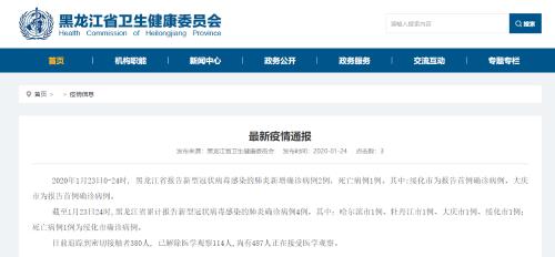 中國武漢「新型冠狀病毒」肺炎疫情快速蔓延。其中一名死者為河北患者,一名為黑龍江的患者。(取自網站)
