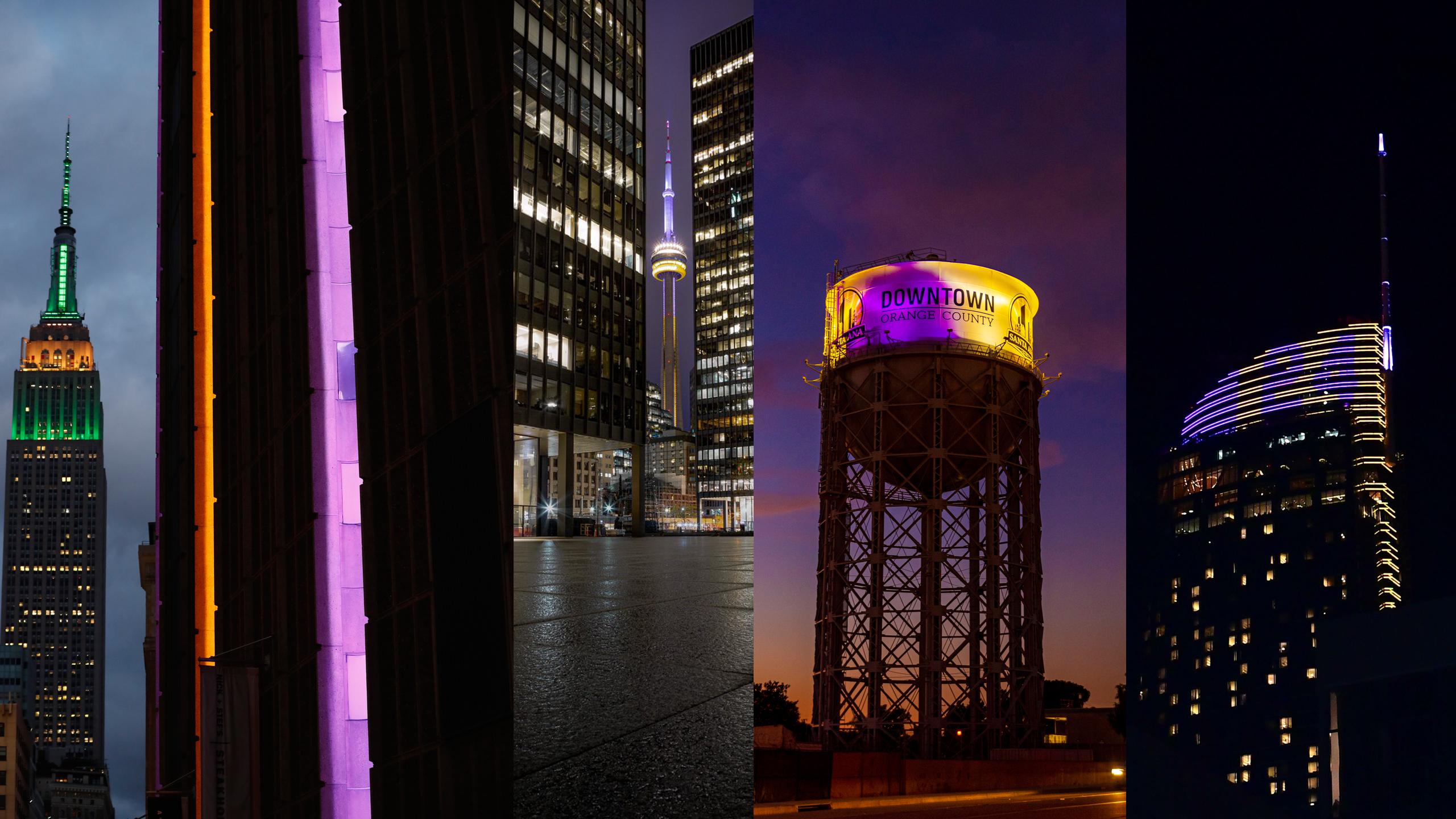 各大城市為柯比亮起湖人隊的紫金配色,以示懷念。從左到右:紐約麥迪遜廣場公園(Madison Square Park),多倫多加拿大國家電視塔(CN Tower),加州聖塔安那水塔(Santa Ana Water Tower),洛杉磯洲際飯店(InterContinental LA Downtown)。(美聯社、Getty Images、推特)