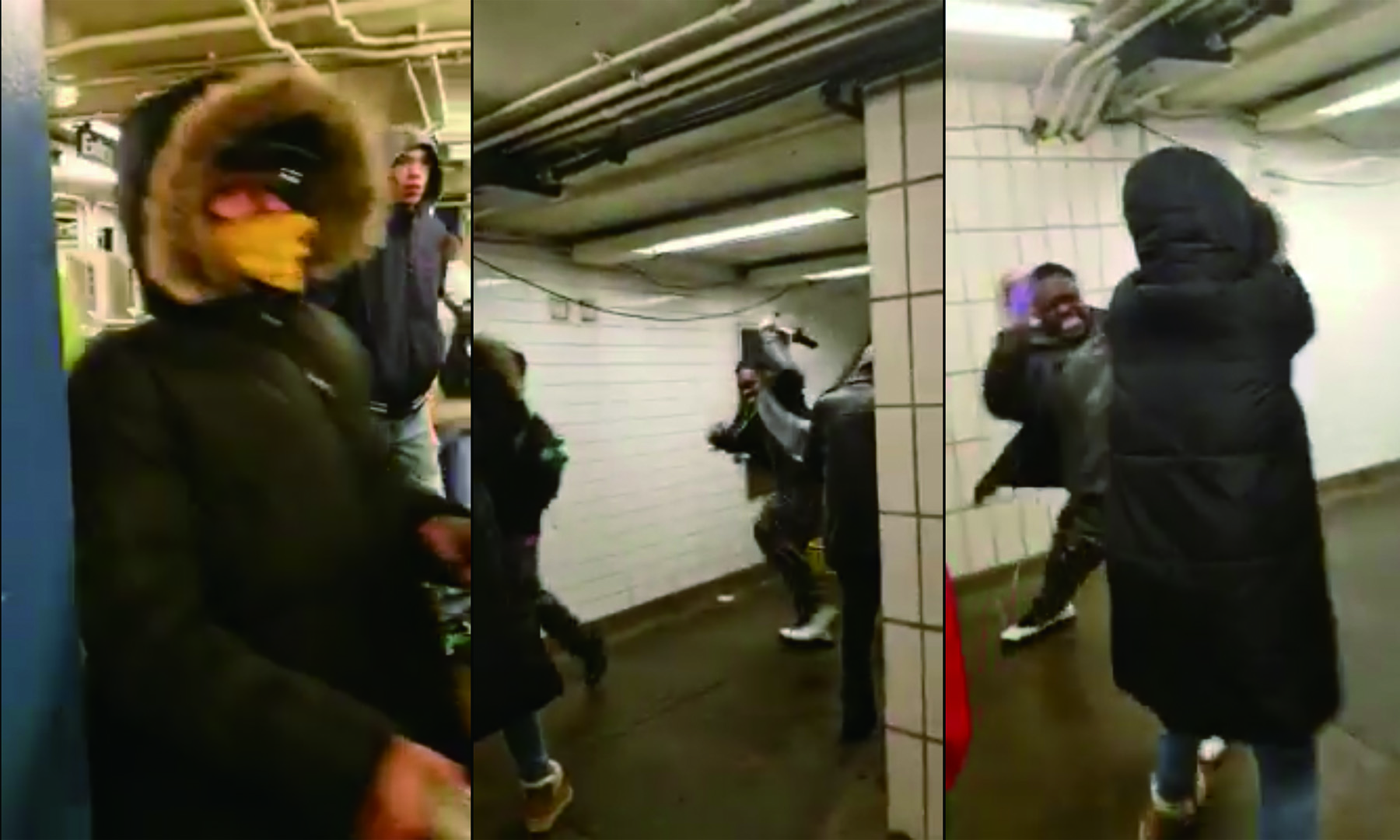 一名婦人因戴口罩在地鐵站遭到一名非洲裔男子毆打,男子以「有傳染病的婊子」等歧視字眼稱呼該婦人。圖/截自臉書網友Wei Song影片