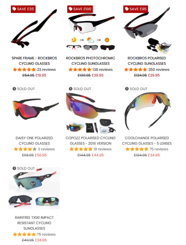 Big Red Gadgets網站上有七款自行車專用護目鏡,有四種已售罄。(取自Big Red Gadgets網站)