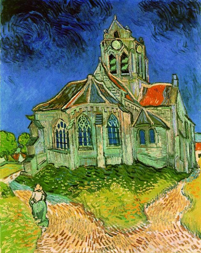 梵谷畫作〈奧維小教堂〉(1890)。