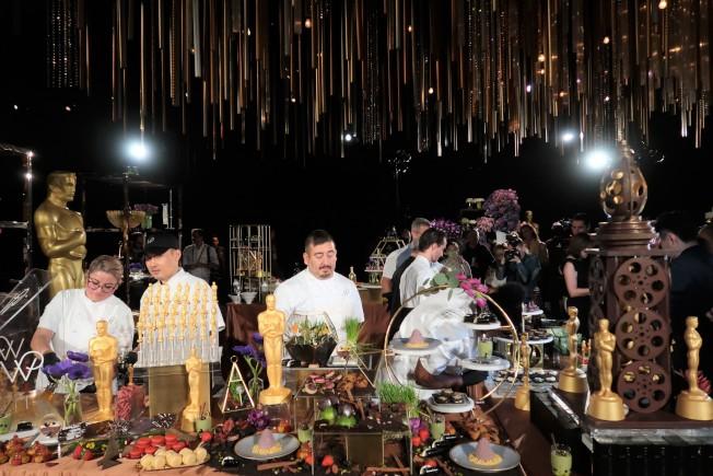 奧斯卡晚宴甜點桌和裝飾。(記者馬雲/攝影)