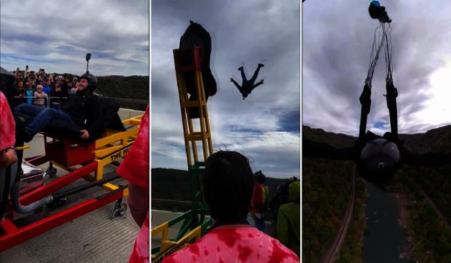 美國西維吉尼亞州年度聯邦規定的築橋紀念日(Bridge day),開放跳傘跟高空彈跳,吸引大批低空跳傘玩家前來朝聖,其中最受矚目的莫屬人體彈射跳傘的玩法,引來大批民眾圍觀。路透/ViralHog