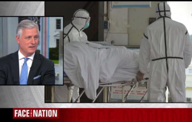 白宮國安顧問歐布萊恩2日在CBS電視上出面呼籲指美國對武漢肺炎傳播無須驚慌,但中方尚未接受美方提出的協助。(截自視頻)