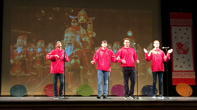 OCPA 2020春節聯歡晚會節目之一 湖地中學恭喜發財合唱。(記者陳文迪/攝影)