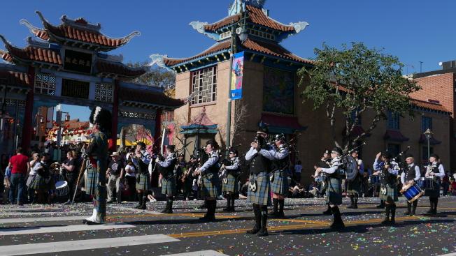 巴沙迪那蘇格蘭風笛樂團。(記者李雪╱攝影)