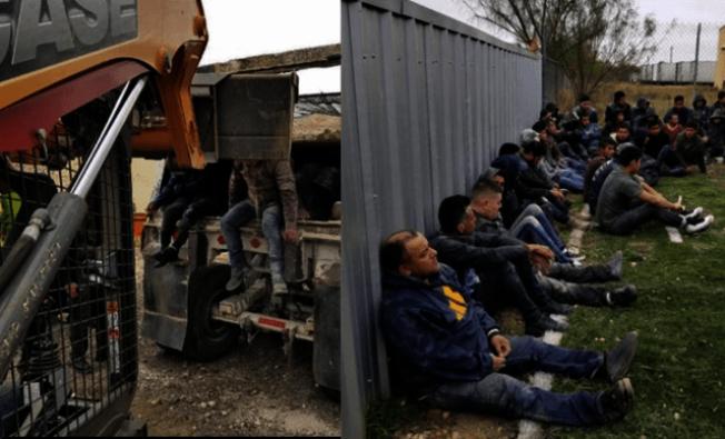 德州拉雷多市警方在一輛爆胎的卡車內發現(左),在木板隔成的夾層中竟然藏有36名偷渡客。右圖為被查獲的移民。(拉雷多警局照片)