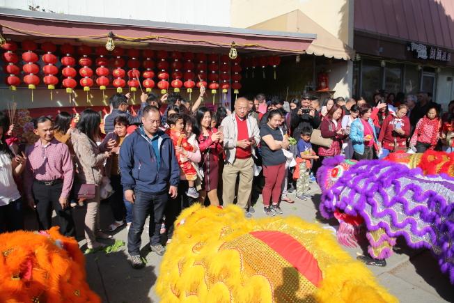 蒙市赤松黃大仙祖宮,醒獅團「祥獅賀歲」迎新春。(主辦單位提供)