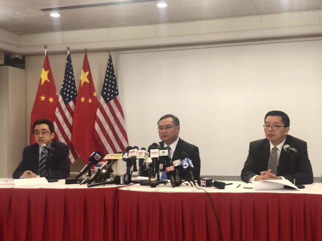 中國駐洛杉磯總領事館7日舉辦中外媒體吹風會。(本報記者/攝影)