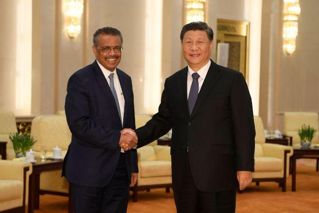 世界衛生組織秘書長譚德塞多次稱讚中國的防疫努力,引發各界責難。圖為譚德塞(左)在疫情爆發後訪問北京,會見中國國家主席。(Getty Images)