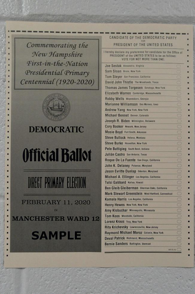 新罕布夏州初選的樣本選票。(Getty Images)