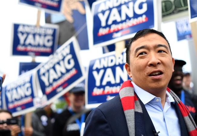 華裔楊安澤並非傳統的總統參選人,但仍受到不少選民支持。(路透)