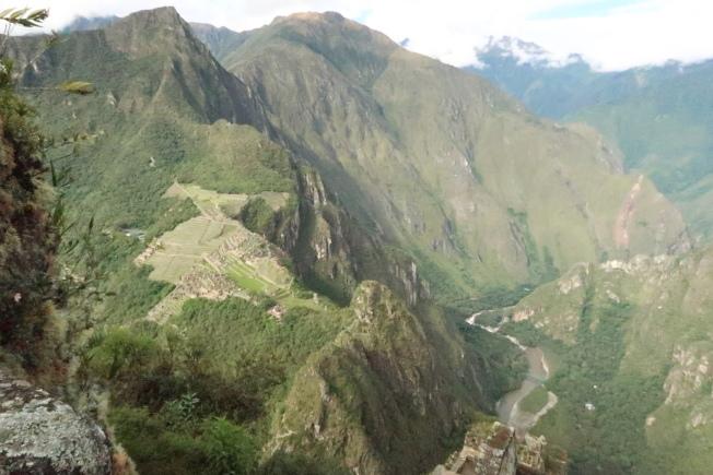 從Huayna Picchu山頂眺瞰馬丘比丘,清楚見烏魯班巴河圍繞。(圖由作者提供)