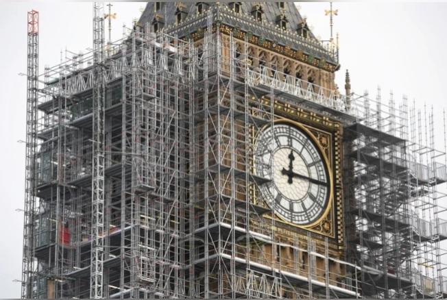 英國倫敦標誌性建築大笨鐘(Big Ben)鐘塔的維修費暴增。(路透)