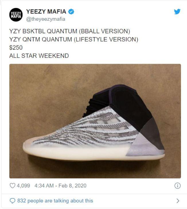 備受期待的Yeezy籃球鞋在NBA全明星賽期間推出。(推特)