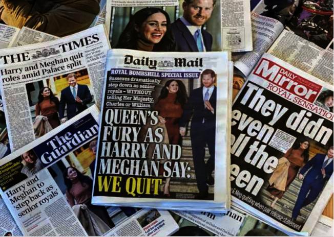 哈利王子與梅根馬克爾宣布淡出王室,登上英國各報頭版。(Getty Images)