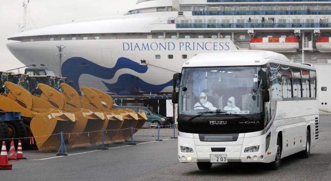 日本14日起檢測鑽石公主號郵輪旅客,呈陰性反應的80歲以上年長者將先下船。圖為一輛公車14日從橫濱碼頭駛出,駕駛全副裝備,將老年乘客轉移到日本政府指定的住所。 (路透)