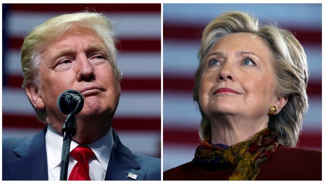 傳彭博將邀民主黨前總統候選人喜萊莉柯林頓搭檔,出戰2020。圖中的2016年川普與柯林頓大戰的局面可能重演。(路透)