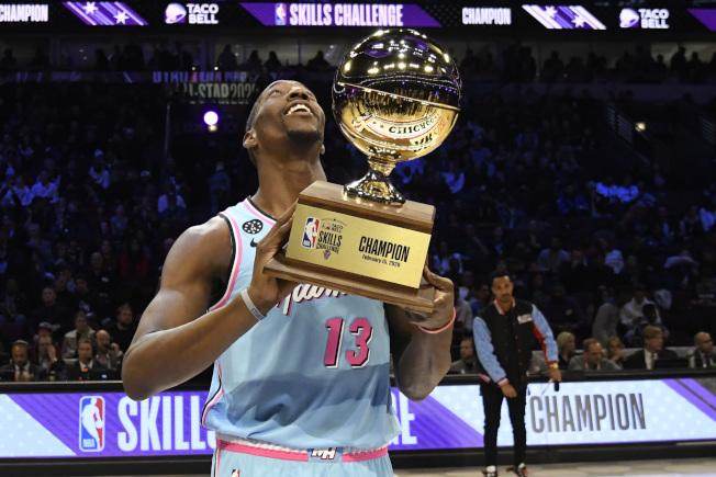 美國職籃NBA 2020明星賽周今天在芝加哥舉行技術挑戰賽(Skills Challenge),邁阿密熱火前鋒阿德巴約贏得比賽。(美聯社)