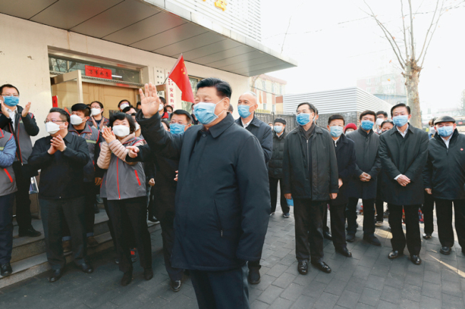 中共總書記習近平上星期在北京對新冠肺炎作調研。(新華社)