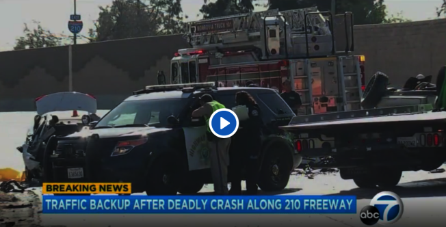 210逆行車禍,導致一死一傷。圖為事故現場。(取材自ABC7)