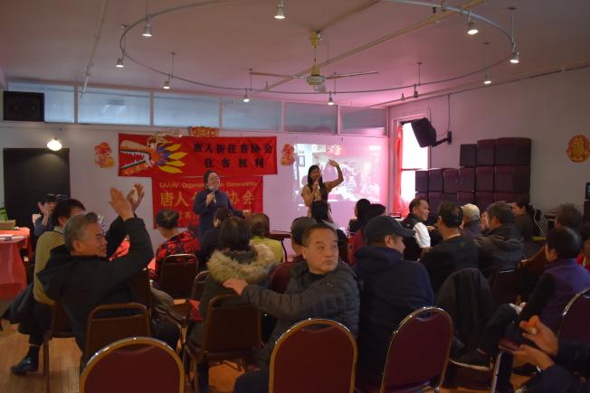 唐人街住客協會16日在曼哈頓華埠舉辦成立15周年慶祝活動,表示2020工作重點將放在向市府爭取減租等議題上。(記者顏嘉瑩/攝影)