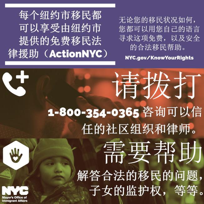 聯邦移民執法部門日前計畫在包括紐約市在內的全國多個庇護城市部署邊境特警巡查單位,白思豪呼籲有需要的移民撥打「ActionNYC」取得協助。(市長移民事務辦公室提供)