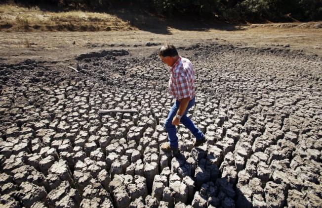 2012-2016年是洛杉磯市中心有紀錄以來最乾旱的五年,圖為2014年牧場主人Jon Pedotti在Cambria附近湖床上行走。(洛杉磯時報)