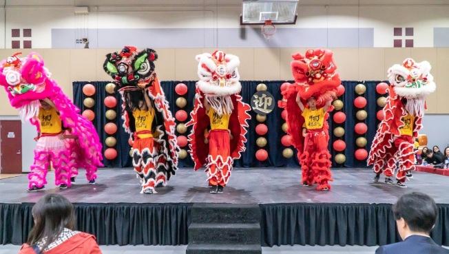 南海岸中華文化中心與爾灣中文學校日前舉行「金鼠迎春園遊會」,由該中心祥龍瑞獅隊打頭陣,在熱鬧的鑼鼓聲中迎接鼠年農曆新年。(南海岸中華文化中心提供)