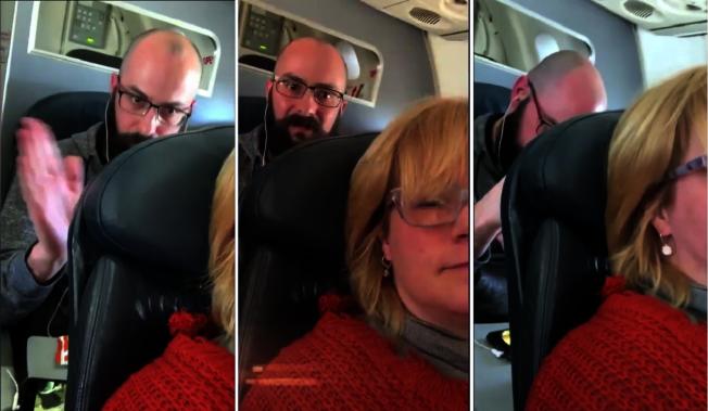 美國一名女子搭機傾倒椅背,遭後方不滿乘客全程拍打。女子錄影上傳網路引爆熱議。取材自《Inside Edition》影片