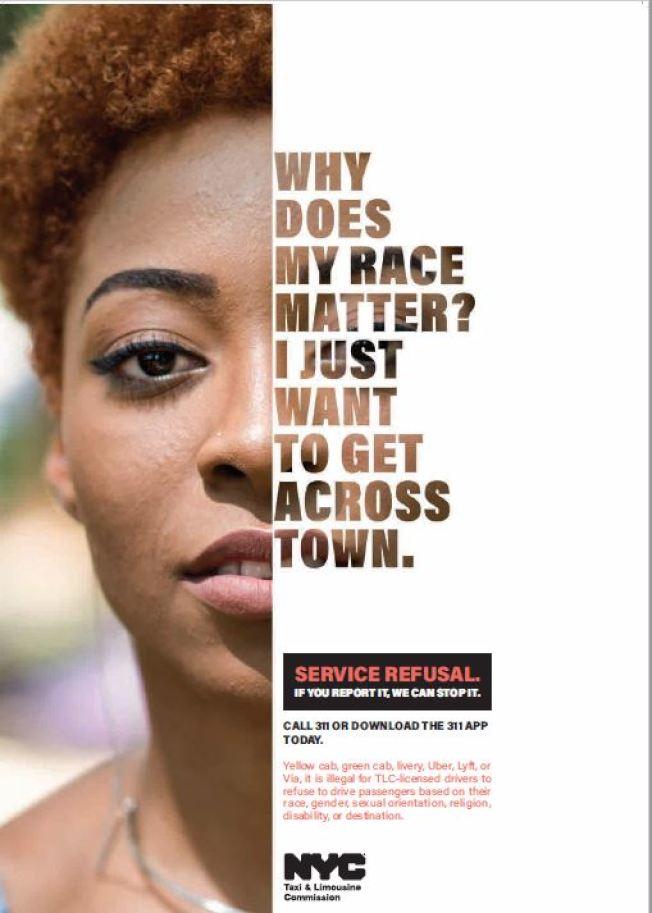 TLC18日起展開宣傳活動,鼓勵乘客舉報那些因乘客族裔或目的地而有歧視行為的計程車、電召車司機。(TLC提供)