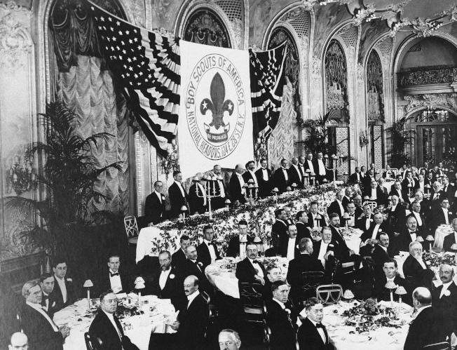 美國童子軍已有100餘年歷史,這是1916年美國童子軍聚會的歷史照片。(美聯社)