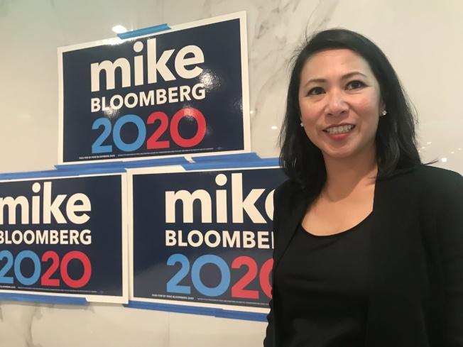 佛羅里達州越裔聯邦眾議員麥菲來到舊金山華埠為總統候選人彭博拉票。(記者李秀蘭/攝影)
