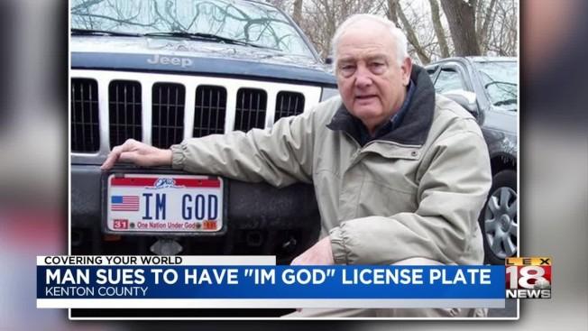 肯塔基州80歲男子本·哈特申請個人車牌號碼要求寫上「我是上帝(IM GOD)」被拒,鬧上法庭四年,由於「沒有人能證明他不是上帝」,哈特贏得勝訴。(取自YouTube)