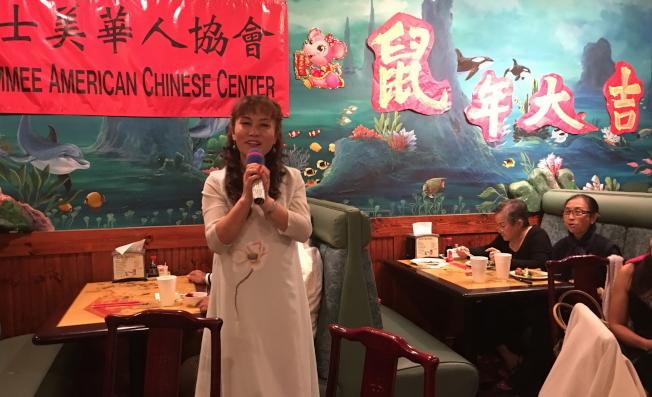 奇士美華協慶春節,京劇名家喬麗分享。(記者陳文迪/攝影)