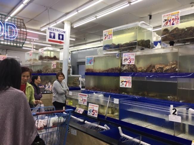 華資超市的人潮正慢慢回溫當中。(記者楊青/攝影)