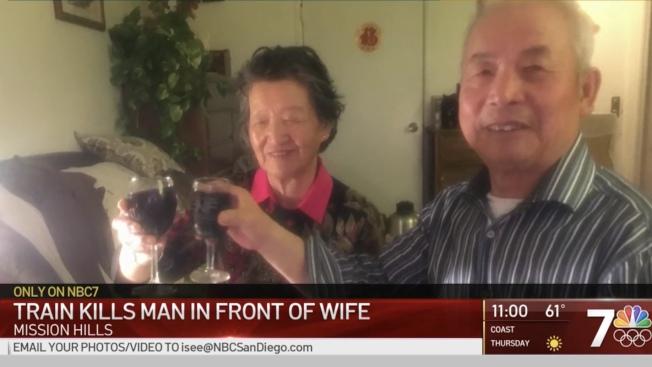 死者何文天(Wentian He,音譯)與妻子結髮50年,渴望在美國自由的生活,可惜無法如願以償。(NBC7網站截圖)