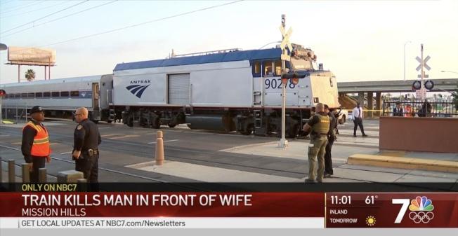 聖地牙哥中國老翁公民考試完回家,不幸在米慎山遭火車撞死。(NBC7網站截圖)