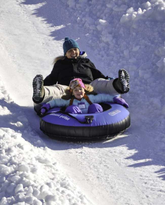 滑雪胎技能要求低、安全系數高,是孩子和大人都喜歡的雪地運動。(取自Mount Peter官網)