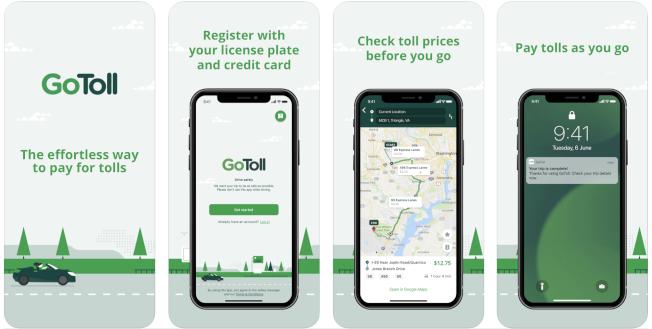 北維州12條收費公路可使用手機程式付款,駕駛人無需安裝EZ-Pass。(GoToll蘋果商店截圖)