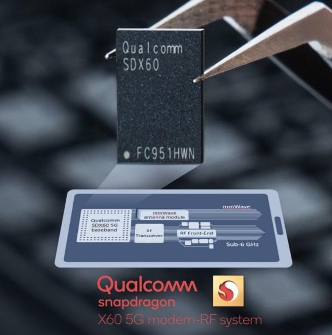 Snapdragon X60採用全球首個5奈米5G基頻晶片,同時是全球第一個支援頻譜聚合的5G數據機RF系統。(取材自高通)