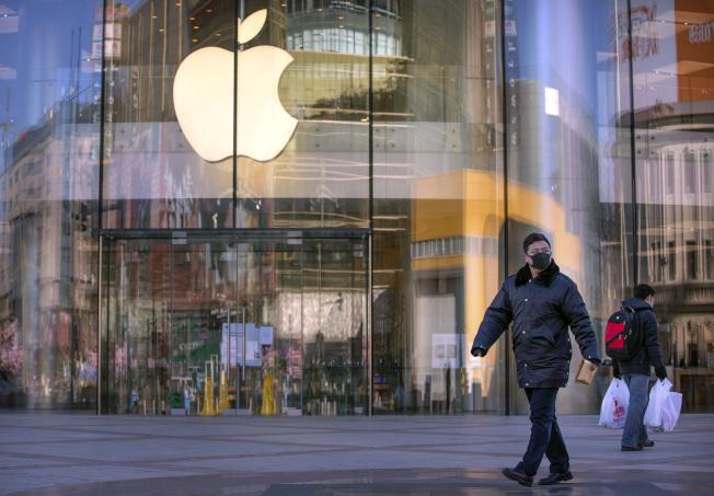 蘋果北京5家分店中其中一家門市。(美聯社)