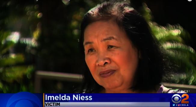 受害人亞裔耆老Imelda Niess表示,搶匪選錯了人,她雖然上了歲數但很強壯。(CBS新聞台)