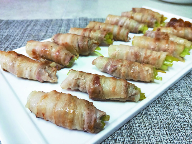 五花肉芹菜卷。
