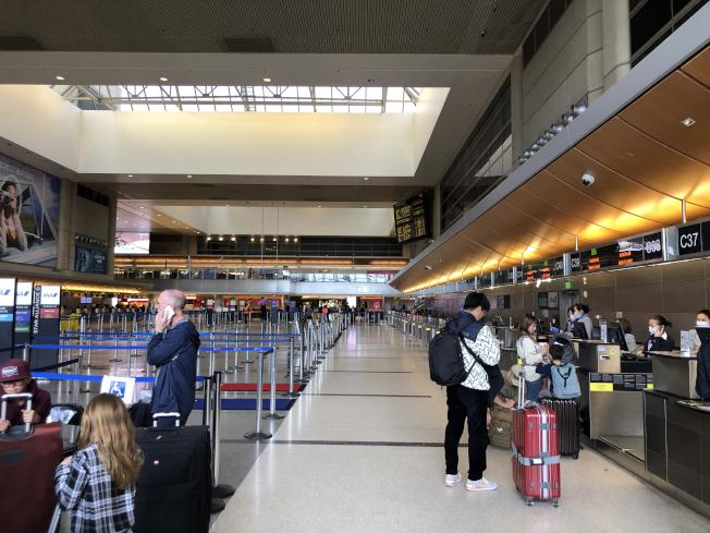 在B航站樓的大廳旅客數量明顯大減,一些地勤人員也開始佩戴口罩。(記者李雪/攝影)